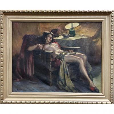 """Huile Sur Toile """"femme Dans Son Intimité"""" Signé Richard (1910)"""