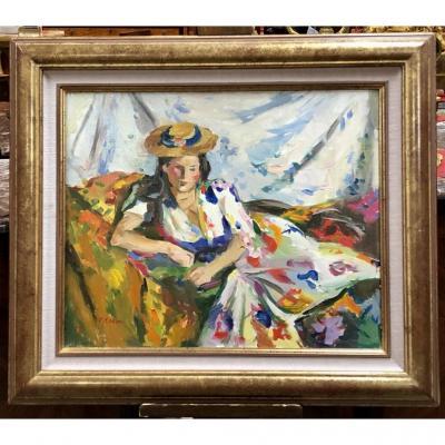 """Huile Sur Toile """"femme Au Chapeau"""" Signé Pierre Cornu,( 1895"""