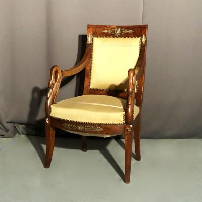 Mahogany Office Chair, Swan Neck Arms, Restoration Period