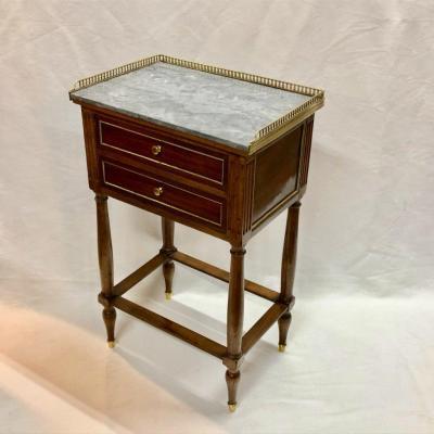 Petite Table Volante d'époque Lxvi En Acajou Et Quarts De Rond De Laiton