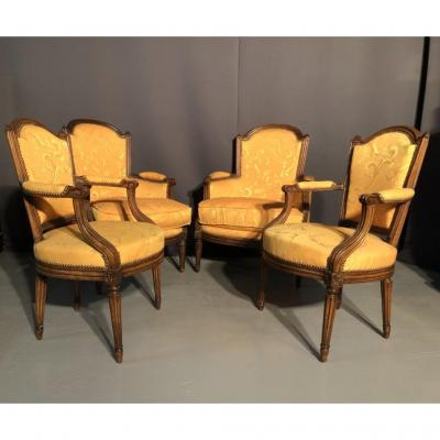 Salon Composed Of 2 Bergeres And 2 Armchairs Louis XVI Eighteenth Century