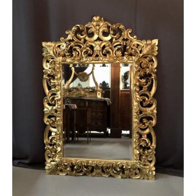Miroir En Bois Sculpté Et Doré à La Feuille, Italie XVIIIème