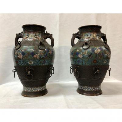 Pair Of Vases Anses In Bronze And Cloisonné Enamels, Nineteenth Time