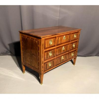 Louis XVI Commode In Walnut And Marquetry, Eighteenth Time