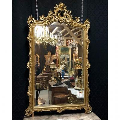 Golden Mirror With Open Shell H / 195 XIXth Century