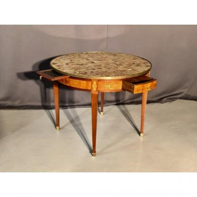 Large Hot Water Table In Marquetry, XIXth Time