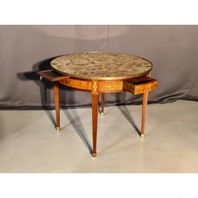Grande Table Bouillote En Marqueterie, époque XIXème