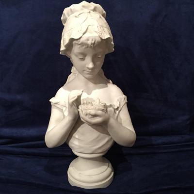 Buste De Jeune Fille En Biscuit De Sèvres Signé G. Lévy 1820 - 1899