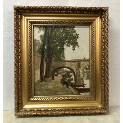 """Huile sur panneau """"quai de Paris"""" signée Yan Robert ( 1901-1994 )"""