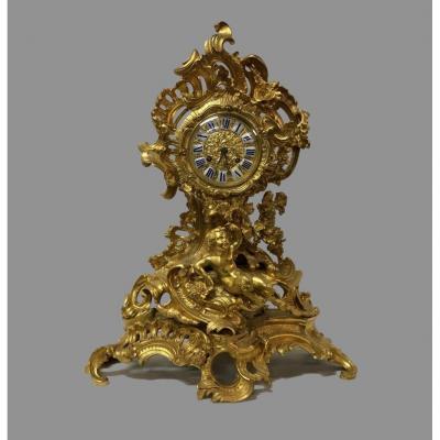 Pendule En Bronze Doré, époque XIXème