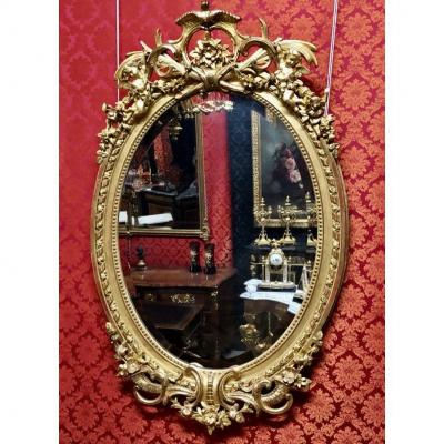 Golden Oval Mirror, H: 1.35, XIXth Time
