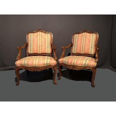 Pair Of Armchairs With Flat Back, Nineteenth Time