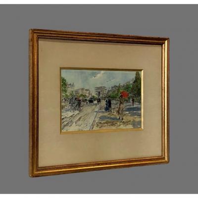 Watercolor View Of Paris Signed