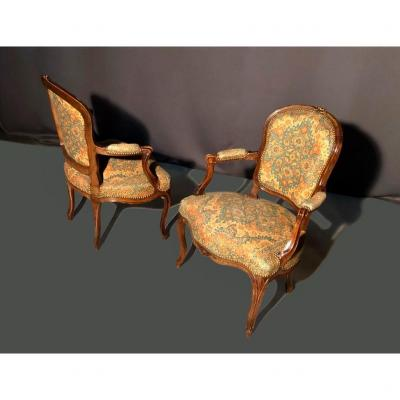 Pair Of Louis XV Armchairs In Beech