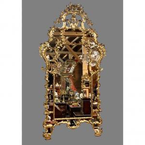 Miroir Palatial à Parecloses d'époque Régence