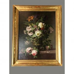 """Peinture """"fleurs"""" signée"""