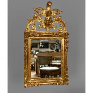 Miroir à Fronton En Bois Doré H/108cm