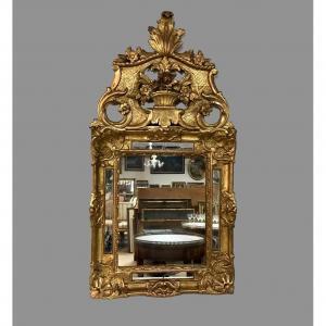 Miroir à Fronton En Bois Doré, H/122, XVIIIème Siècle