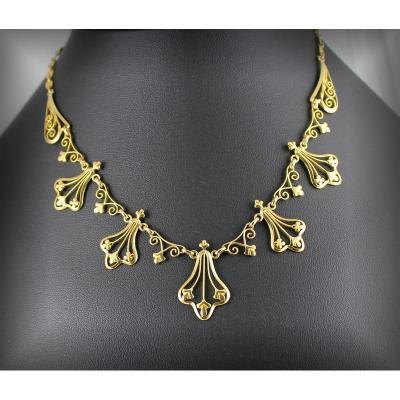 Gold 750 Million Drapery Necklace