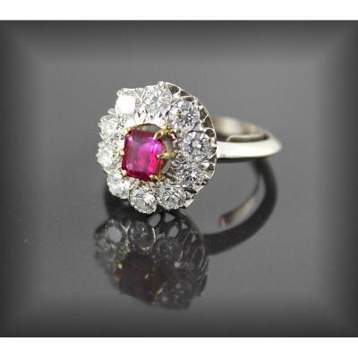 Bague Rubis Non Chauffé Certifié-diamants