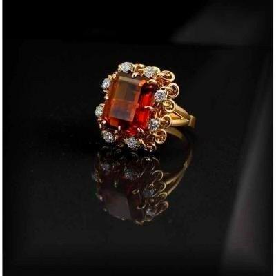 Bague Or -citrine Et Diamants