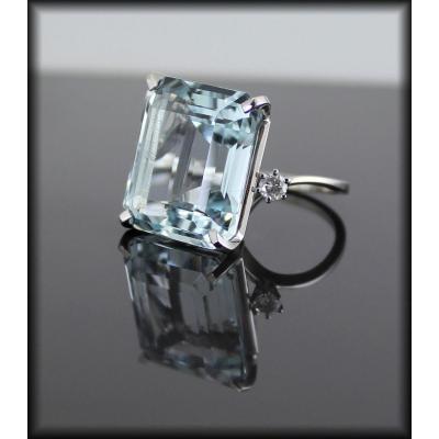 Bague Or , Aigue Marine Et Diamants