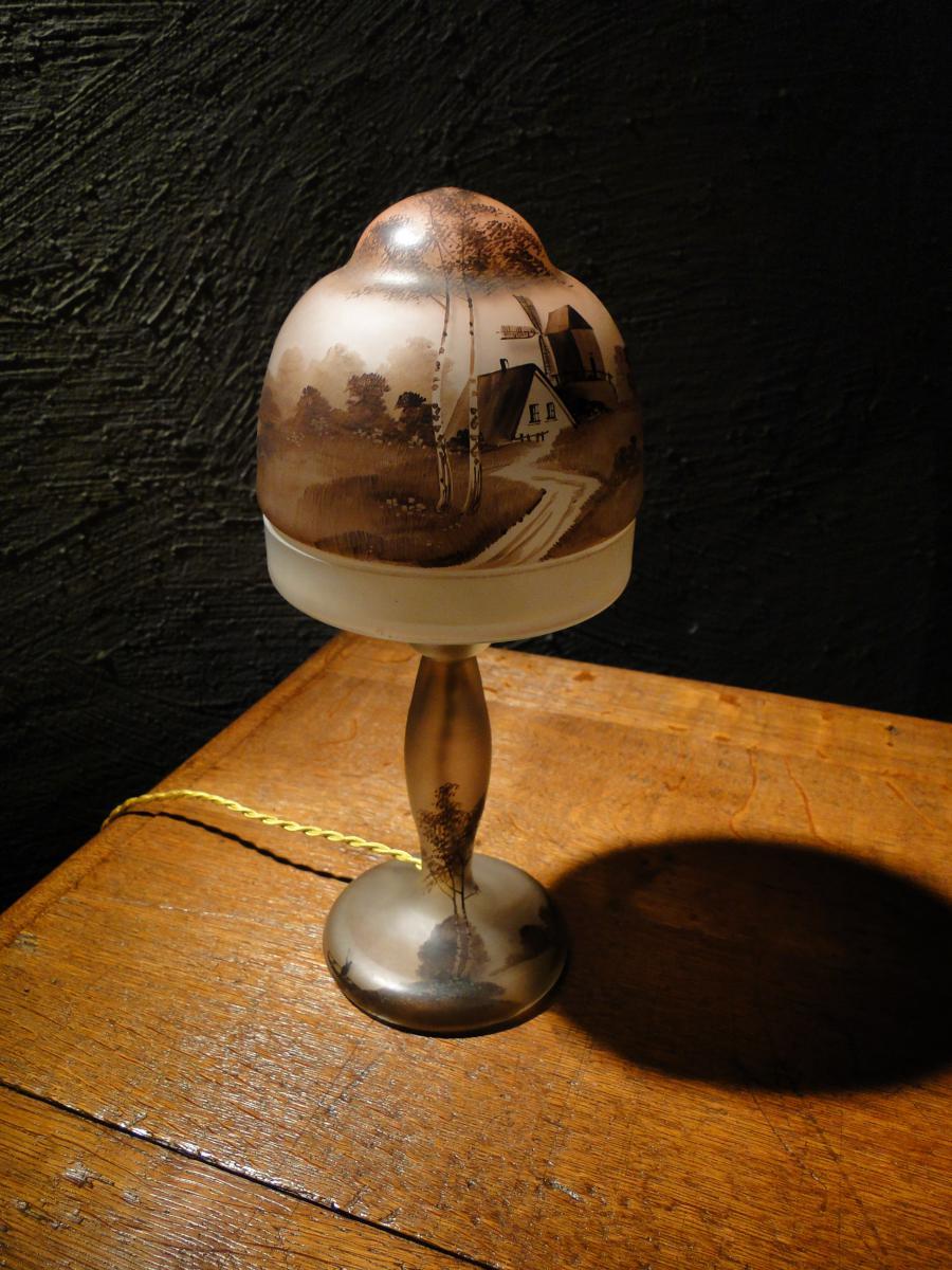 lampe champignon 1900 en verre peint lampes. Black Bedroom Furniture Sets. Home Design Ideas