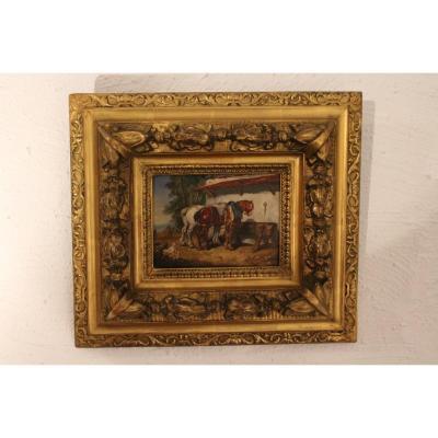 Barnyard Painting 19 Th Century.