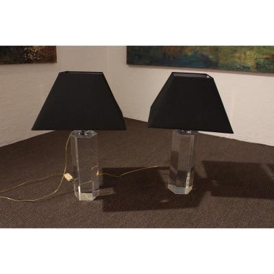 Pair Of Plexiglass Lamps