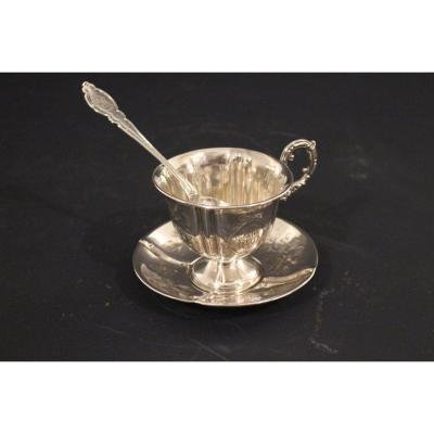 19 Eme Silver Cup And Saucer