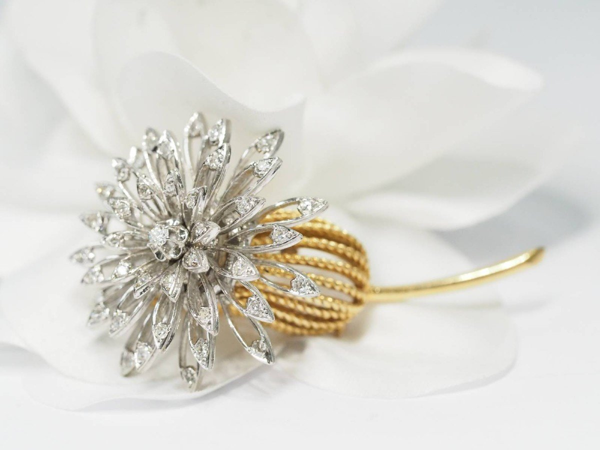 Brooch From The Sixties In Yellow And White Gold, And Diamonds
