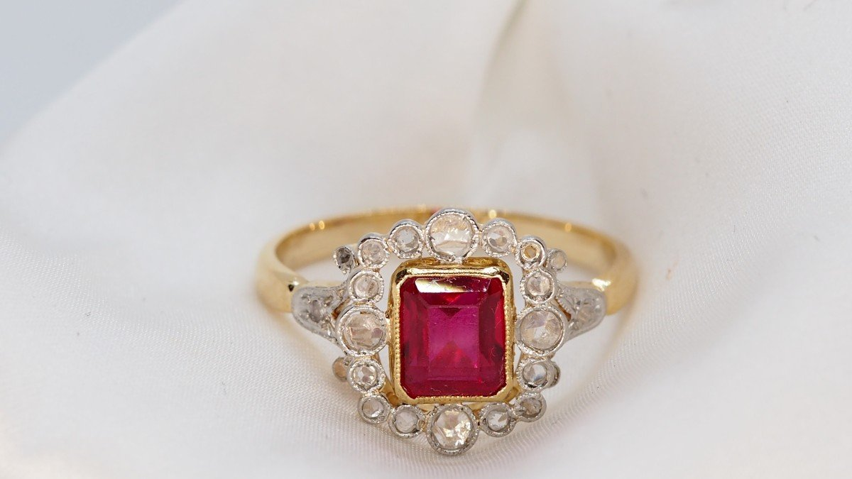 Bague Ancienne En Or Et Diamants Taille Rose