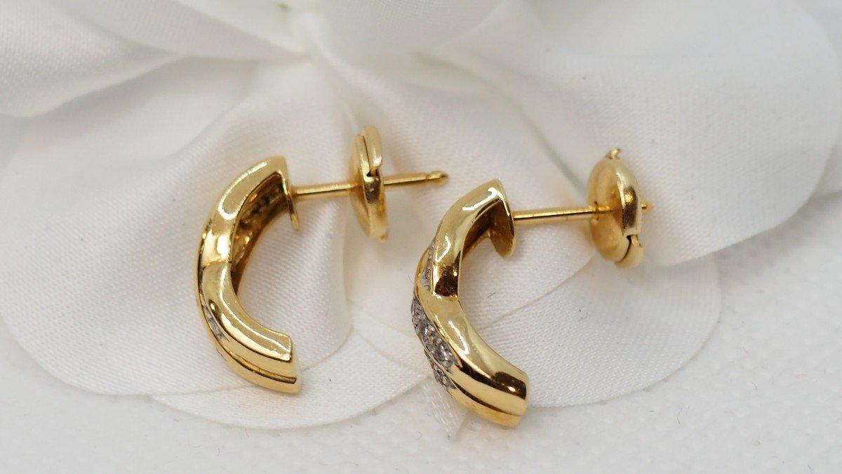 Boucles d'Oreilles En Or Jaune Et Diamants-photo-2