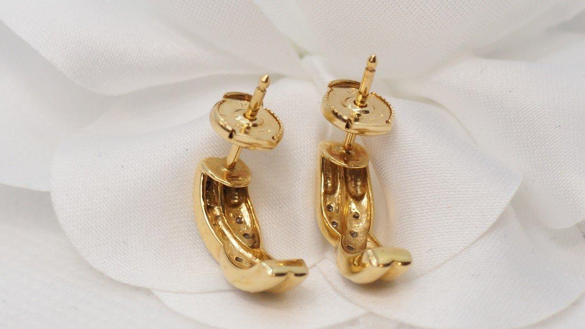 Boucles d'Oreilles En Or Jaune Et Diamants-photo-3