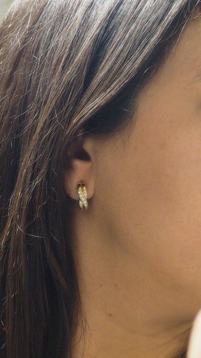 Boucles d'Oreilles En Or Jaune Et Diamants-photo-4