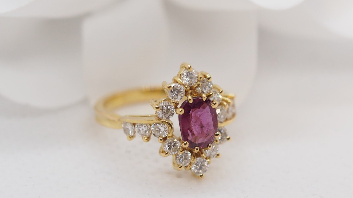 Ring In Yellow Gold, Central Ruby And Diamonds-photo-3