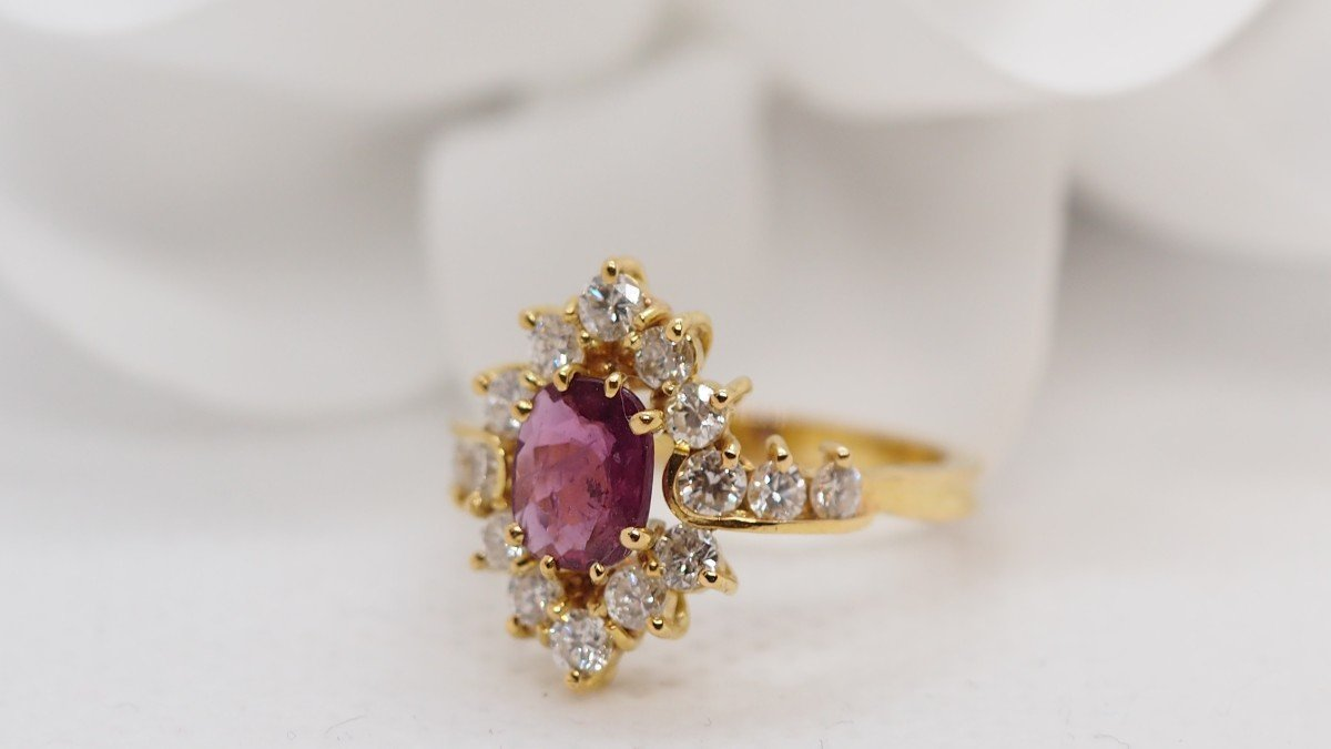 Ring In Yellow Gold, Central Ruby And Diamonds-photo-4