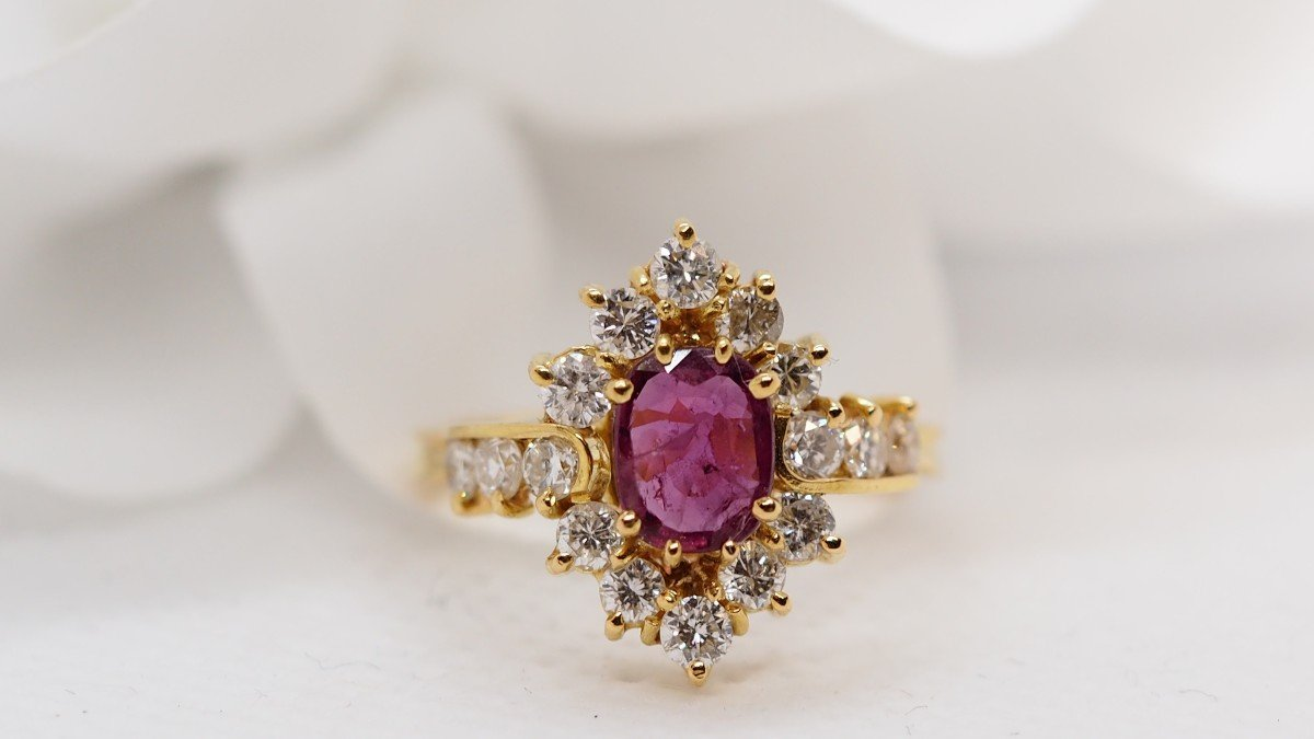 Ring In Yellow Gold, Central Ruby And Diamonds