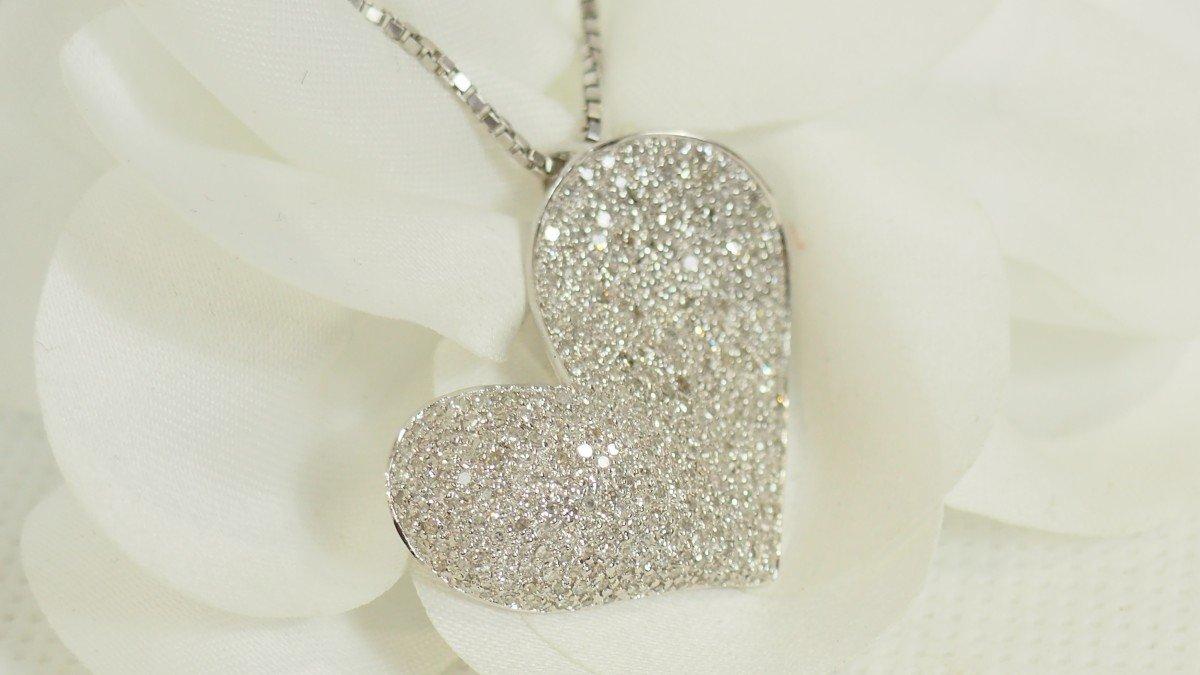 Collier Cœur En Or Blanc Et Diamants-photo-2