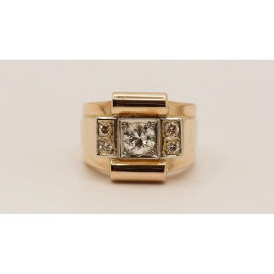 Bague Années 50 En Or Rose Et Diamants