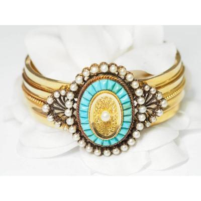 Bracelet Ancien  En Or Rose Serti De Turquoises Et Perles Fines.