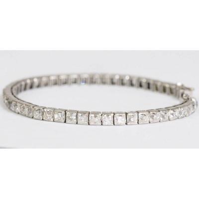 Bracelet Rivière Art Déco En Platine Et Diamants