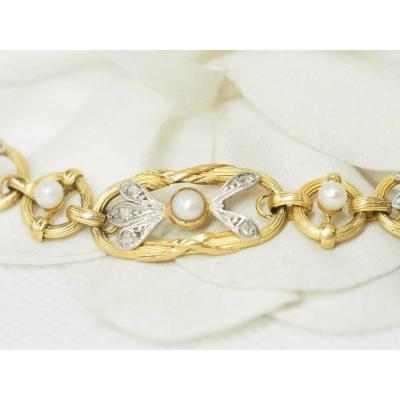 Bracelet Fin XIXème En Or  Jaune Et Perles  Diamants
