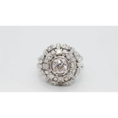Vintage Marguerite Ring In Palladium And Diamonds