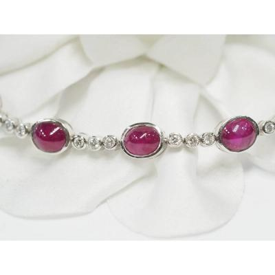 Rivière Bracelet In White Gold, Ruby Cabochons And Diamonds