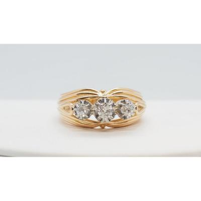 Old Ring In Yellow Gold And Diamonds