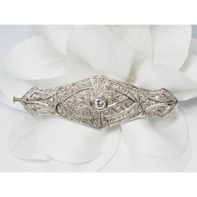 Broche Ancienne En Or Blanc Et Diamants