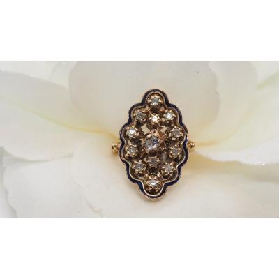 Bague Marquise En Or Rose Et Diamant Taille Rose