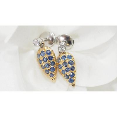 Boucles d'Oreilles Anciennes Serties De Diamants Et Saphirs