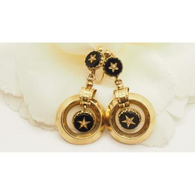 Antique Earrings In Yellow Gold And Onyx